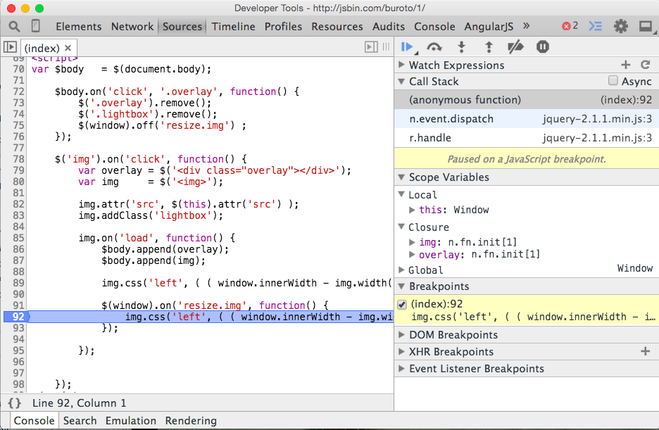 chrome debugger showing closures for a function
